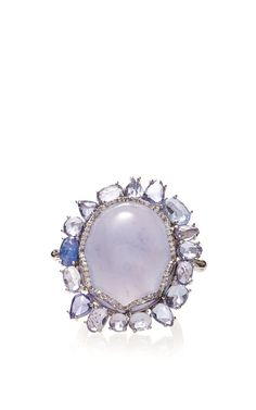 18K White Gold Ring With Blue Chalcedony Center Stone by Nina Runsdorf, Pre-Fall 2015 (=)