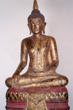 Rattanakosin Gilt Wooden Sculpture of the Buddha Seated in the Dhyanasana Position  Origin: Thailand Circa: 18 th Century AD to 19 th Century AD