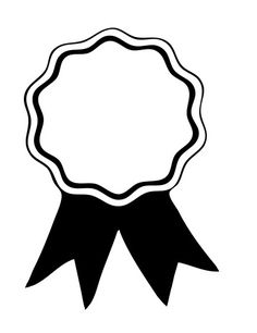 Award ribbon pattern. Use the printable outline for crafts