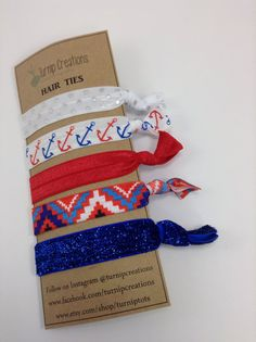c6c16729a5c7 Items similar to Aztec Anchor Hair Ties Red White & Blue Hair Ties Glitter  FOE elastic pony tail holder Nautical Hair Ties Metalic Polka Dot on Etsy