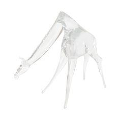 Clear Murano glass giraffe sculpture by Seguso.