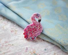Flamingo brooch Pink bird jewelry Flamingo gifts Polymer clay bird pin with Swarovski crystal Polymer clay jewelry Pink Blue Bird lover gift