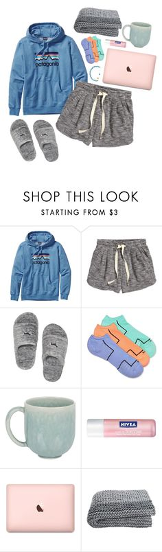 """""""lazy day"""" by chloewxtson ❤ liked on Polyvore featuring Patagonia, H&M, HUE, Jars and Nivea"""