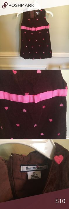 Bundle only! 2 days left! Brown jumper with pink hearts. GUC Hartstrings Dresses