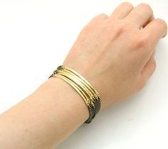 Raw Brass Hammered Bars Bracelet Modern por GoldandSilverLinings