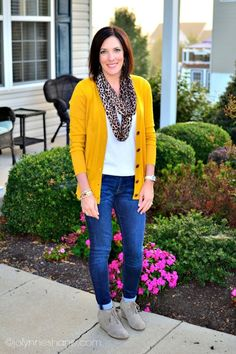 animal print scarf with mustard boyfriend cardi and booties make the perfect fall outfit!