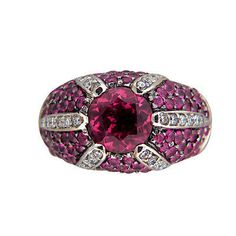 Vintage Sonia B Design 18k Gold Fine Deep Pink Tourmaline Diamond Accent Ring