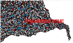 An Abstract of Geometric Diamonds in Red & Blue 5 x 7 via Etsy