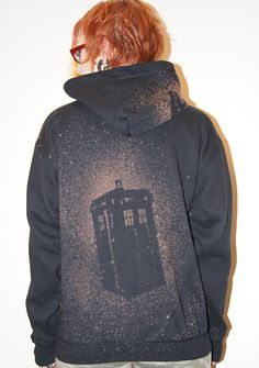TARDIS Hoodie. EASY diy for t-shirt or hoodie. Make cut-out from template and splatter paint or bleach over it on a TARDIS-blue shirt. Must do this!!!!!
