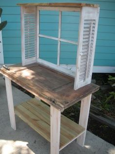Cute planting bench - shutters and window frame.  ****great plant display****