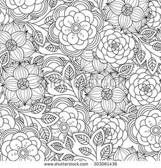 stock-vector-floral-seamless-pattern-zentangle-doodle-background-black-and-white-hand-drawn-pattern-303061436.jpg (450×470)