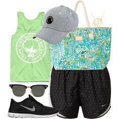 road tripping by pretty-and-preppy on Polyvore featuring NIKE, Lilly Pulitzer and Ray-Ban