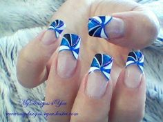RE-EDITED Blue, French Tip Nail Art Design Tutorial - ♥ MyDesigns4You ♥ - YouTube