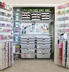 IHeart Organizing: The Ultimate Craft Closet Organization, using Elfa system fro. IHeart Organizing: The Ultimate Craft Closet Organization, using Elfa system from The Container Store Scrapbook Room Organization, Craft Closet Organization, Small Space Organization, Organization Ideas, Closet Storage, Storage Ideas, Organize Craft Closet, Closet Drawers, Shelving Ideas