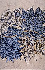 """William Morris - design for """"Tulip and Willow"""" indigo-discharge wood-block printed fabric, c.1873"""