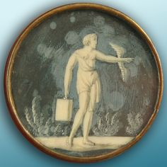 Antique button, 18th C. Painting on Ivory.
