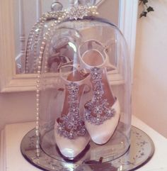 Shoes in a bell jar! Sparkly. Jewellery. Pearls. Interiors. Home. Decor. Decorating.
