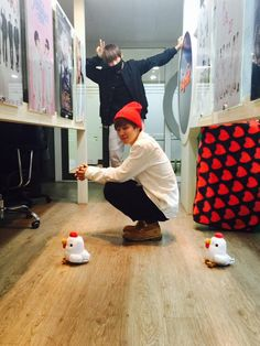 V + Jimin. And Jimin looking like one of the chicken so cute