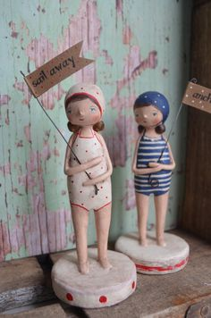 Vintage Swim Girl Sail Away Folk Art Paperclay by apinchofprim