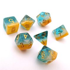 Knight Artorias Translucent and Blue Speckled Acrylic Dice Set DnD 7 | Dungeons and Dragons White