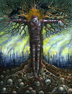 """CRUCIFIXION 01 by R.S. Connett  """"It seems to me that the planet itself has turned on us because WE have made ourselves its enemy."""""""