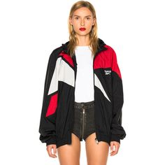 VETEMENTS x Reebok Classic Track Jacket ($1,085) ❤ liked on Polyvore featuring outerwear, jackets, coats & jackets, nylon jacket and zip front jacket