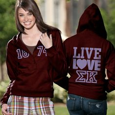 Sigma Kappa Sorority Ladies 5-Button Printed Fashion Hoody $46.95 #Greek #Sorority #Clothing #SigKap #SigmaKappa