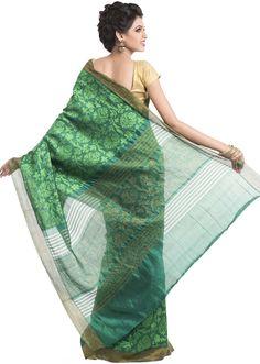 Green Jacquard Self Woven Festive Saree