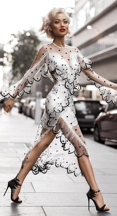 #winter #fashion /  White Tulle Dress With Black Dots