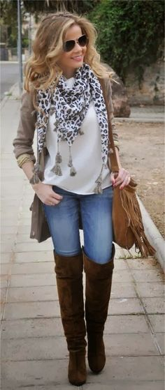 Long Boots Grey Cardigan Stylish Scarf And Purse