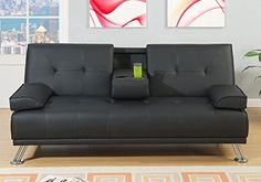 1PerfectChoice Living Room Adjustable Sofa Bed Couch Futon Black Tufted Leatherette Console Cup