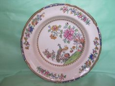 Copeland Spode Round Peacock Vegetable Bowl 2118 Floral Brown Trim #SpodeCopeland