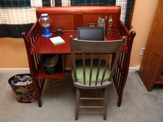 Old Baby Furniture turned into a desk - what a good idea.