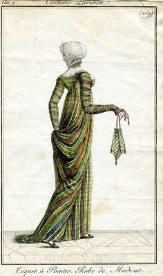 259  Costumes Parisien 1801   Beautiful Paris Green (arsenic green) plaid dress! Also: Bonus Regency Wedgie!