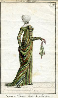 259 Costumes Parisien 1801 | Beautiful Paris Green (arsenic green) plaid dress! Also: Bonus Regency Wedgie!