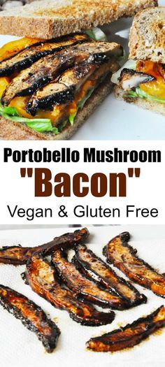 Vegan Portobello Mushroom Bacon! Four ingredients and so easy to make. This is one of our most popular recipes. www.veganosity.com