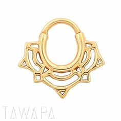 Gold Plated Lace Lotus Septum Ring Small Diameter