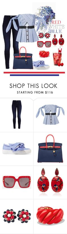 """Red White Blue!"" by lheijl ❤ liked on Polyvore featuring self-portrait, Joshua's, Hermès, Dolce&Gabbana, Silvia Furmanovich, Miriam Haskell and David Yurman"