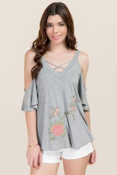 4ca1a0d9d98b62 Lyric Ruched Sleeve Embroidered Off The Shoulder Top