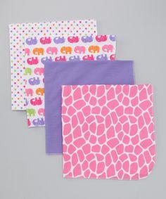 Pink Elephant Flannel Receiving Blanket Set