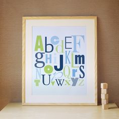 Children Art, Decor for Baby Nursery, Kids and Children Rooms. 16x20 ABC Print - Navy Blue/Green. $39.00, via Etsy.