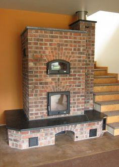 The Masonry Heater Association Gallery. another nice basic design with just a touch of fancy brick detail.