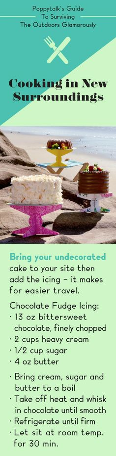 Guide to Surviving The Outdoors Glamorously: Cooking in New Surroundings pinned this for the frosting recipe =) Fudge Icing Recipe, Chocolate Fudge Icing, Frosting Recipes, Holiday Recipes, Holiday Ideas, Fun Desserts, Dessert Recipes, My Favorite Food, Favorite Recipes
