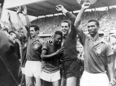 Brazil celebrate the first title,Pele 2nd left