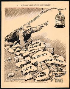 'Rocky Road to Nowhere', by Paul Berdanier on July 17, 1952 - Cartoon about the Korean Conflict.
