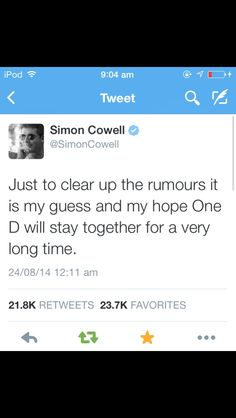 OMG SIMON COWELL FREAKING SCARED WTH WHEN I SAW IT IWAS CRYING OMG AHH>> EVERYONE REPIN THIS TO EVERY POSSIBLE 1D BAORD AND RE-TWEET IT TO SPREAD THIS FASTER THEN GIRLFRIEND RUMOURS EVERYONE MUST KNOW THAT 1D ARE NOT SPLITTING UP!