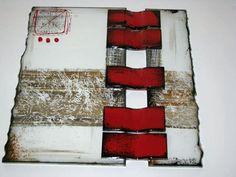 M Beneke fused glass textured tiles 17x17cm