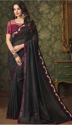 35ba8e856c Black Color Silk Designer Party Wear Saree | 375744873 #sarees #saris  #fashion #