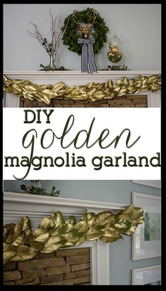 Love this beautiful, easy DIY gold garland for Christmas! Lasts the whole season! This would be beautiful in my living room! Christmas Time Is Here, Noel Christmas, All Things Christmas, Christmas Ideas, Magnolia Garland, Magnolia Leaves, Holiday Crafts, Holiday Decor, Gold Diy