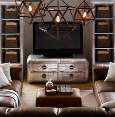 That thing the TV on is amazing would look great in tying industrial and traditional looks together